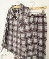 Estación de la edad hombre 100% algodón gris rojo de la tela escocesa de talla grande clásico traje de pijama ropa deportiva