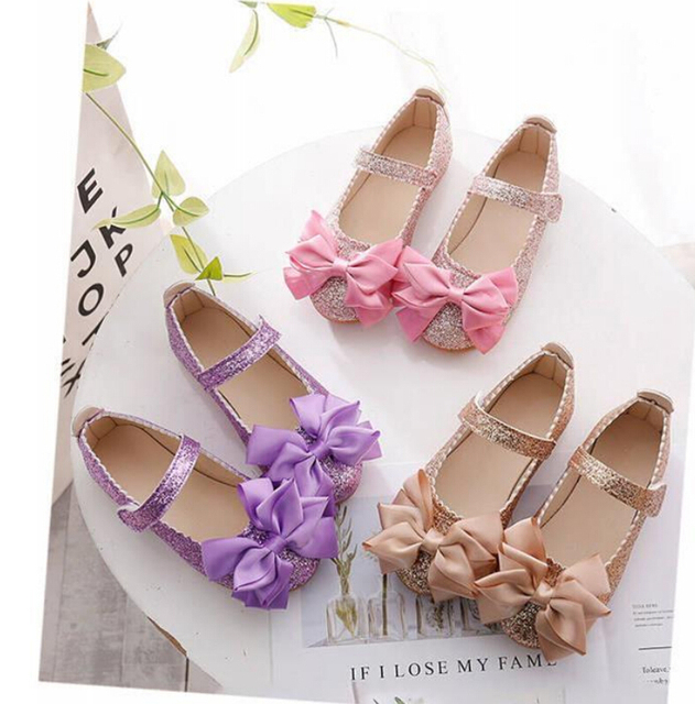 Flowers Children Girls Kids Sequins Leather Princess Dress Shoes For Teens Teenager Girls Baby Party Wedding Dance Single Shoes