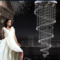 2016 New LED Crystal Chandelier Spiral Superdense K9 Chandelier Crystal Stair Lamp Hotel Villa Rain Drop