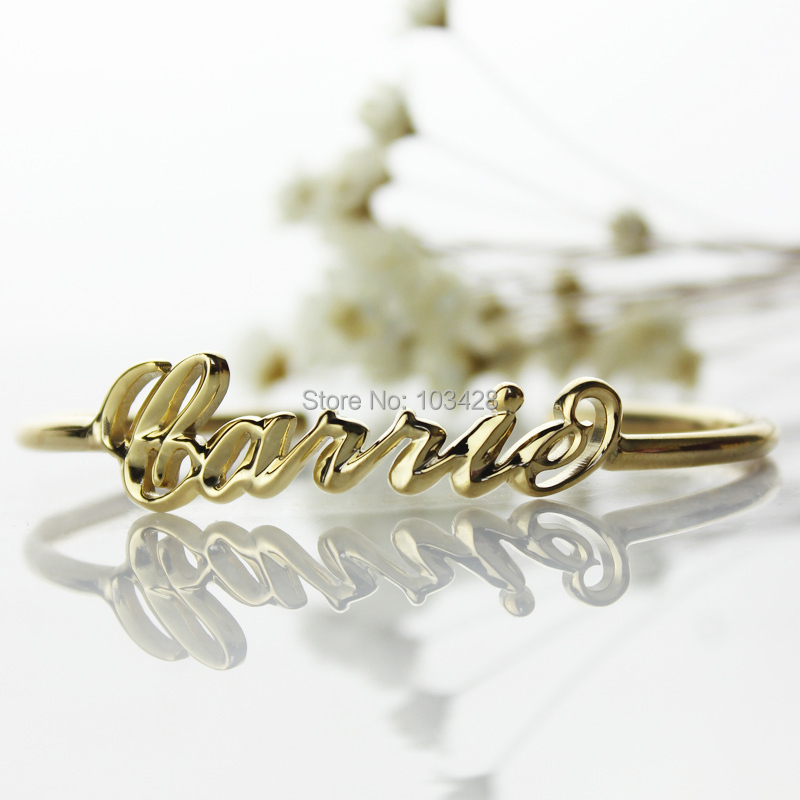 613d1b694 AILIN 3D Carrie Name Bracelet Gold Color Personalized 3D Name ...