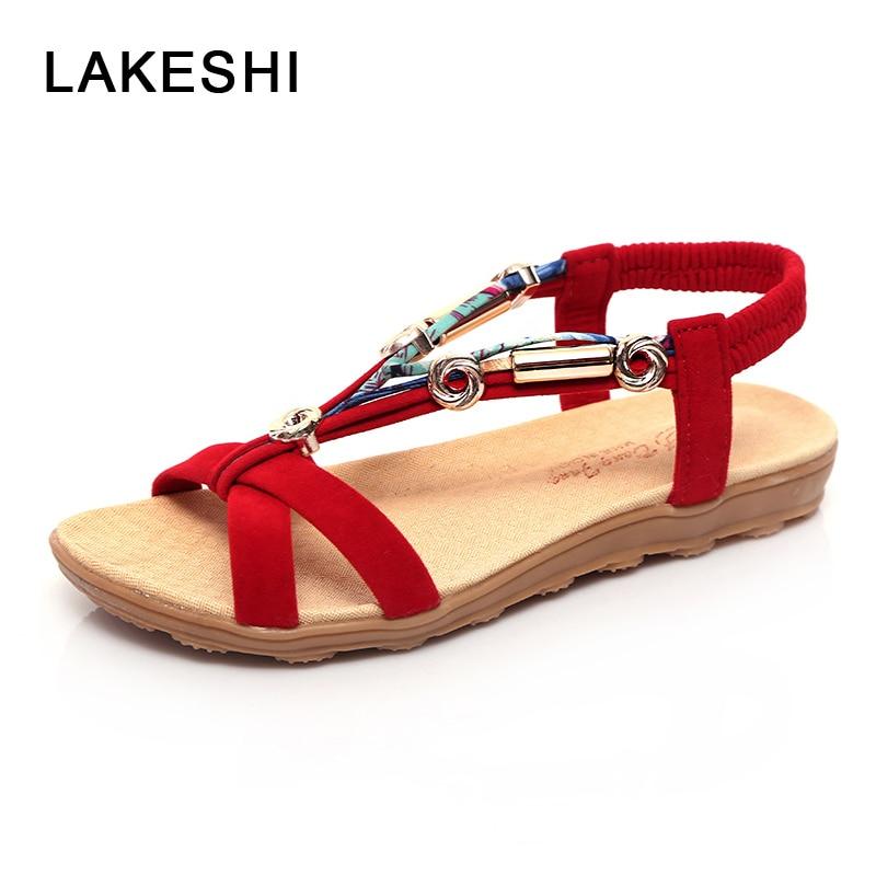 LAKESHI Roman Women Sandals Flat Sandals Women Fashion Bohemian Casual Sandals Flip Flops Women Shoes Ladies Sandals 2018 girl shoes in sri lanka