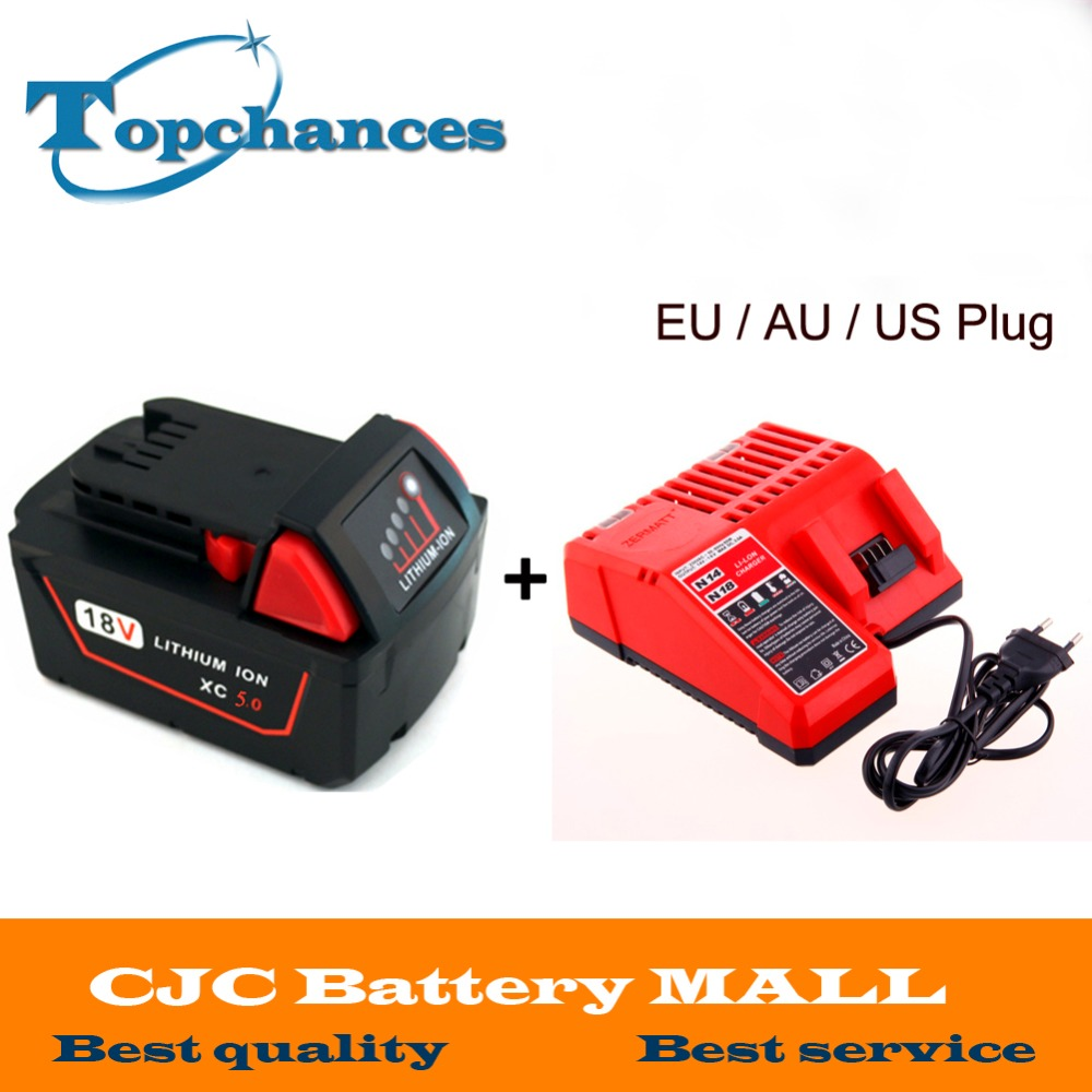 High quality 18V Li-Ion 5000mAh Replacement Power Tool Battery for Milwaukee M18 XC 48-11-1815 M18B2 M18B4 M18BX Li18+charger power tool accessory lithium ion battery charger 14 4v 18v for milwaukee c18c c1418c 48 11 1815 1828 1840 m18 m14 serise parts