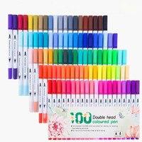 24/36/48/60/80/100 pces graffiti desenho pintura dupla cabeça dupla ponta escova marcador caneta conjunto aquarela canetas coloridas papelaria Marcadores da arte     -