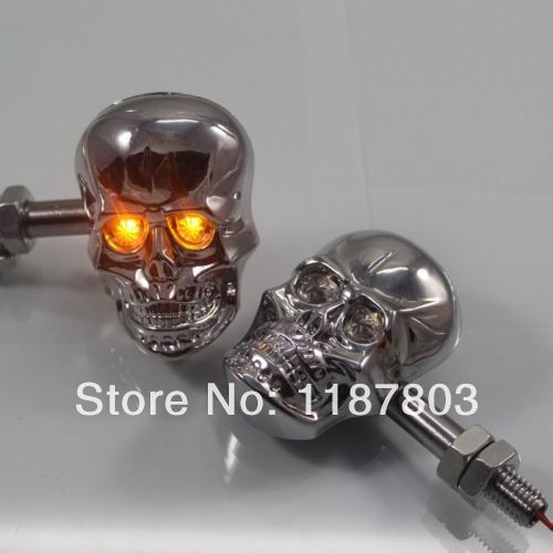 Motorcycle Skull Turn Signal Light LED Light Universal 10mm Bolt Motorbike Cruiser Chopper Touring Atv Scooter Offroad