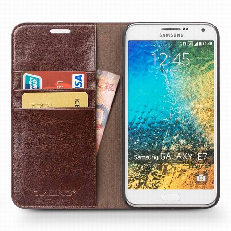 2015 QIALINO ən yeni lüks cüzdan cib telefonu, Samsung Galaxy E7 - Cib telefonu aksesuarları və hissələri - Fotoqrafiya 5