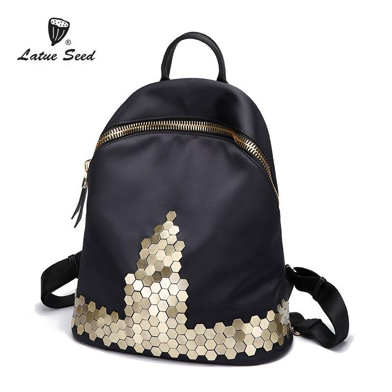 Latue Seed 2018 New Rivet Oxford Cloth Backpack Female Geometric Wild Vintage Fashion Ladies Bag Nylon Big Capacity Backpack