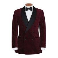 Latest Coat Pant Designs Burgundy Velvet Men Suit Smoking Jacket Prom Tuxedo Slim Fit 2 Piece Custom Groom Blazer Suits Ternos