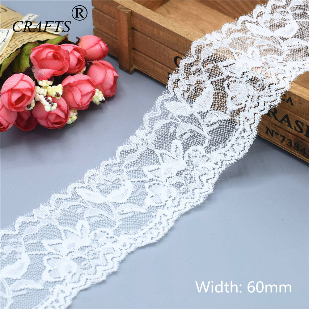 5 Yard 7cm Wide Black Floral Elastic Lace Trim DIY Sewing Applique Craft