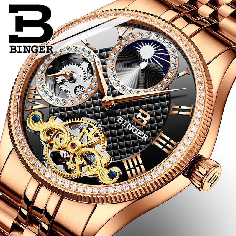 Moon Phase Automatic Wristwatches BINGER Men Mechanical Watch Tourbillon  relogio masculino Fashion Rhinestones Business Clock светильник настенный lucesolara classico 1007 1a white