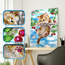 2019 New Diamond Painting Cute Cat Climb Tree And Butterfly Special Shaped Needlework Rhinestone 5D Drill