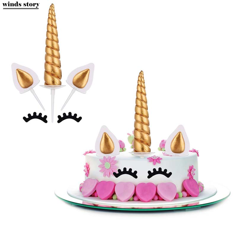 Unicorn Cake Toppers Unicornio Horn Ears Cake  Decorations Cupcake Toppers Baby Birthday Party Decorations Baking Tools unicorn party birthday decorations unicorn party 20cm artificial rose flowers banner cake topper baby shower party cake decor