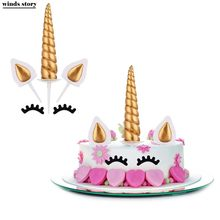 Unicorn Cake Toppers Unicornio Horn Ears Cake Decorations Cupcake Toppers Baby Birthday Party Decorations Baking Tools(China)