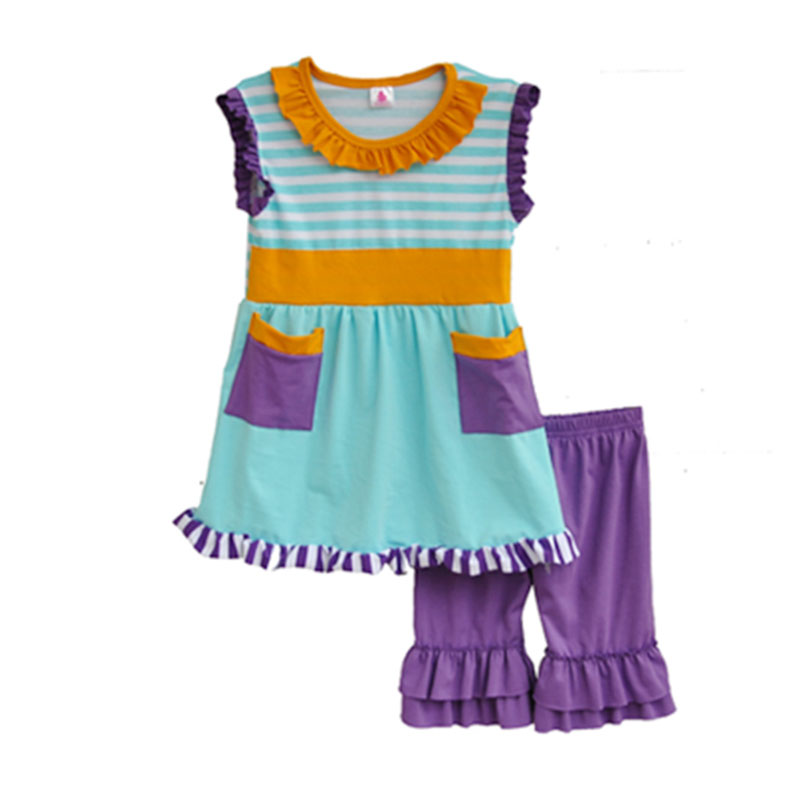 Children Clothing Striped Pocket Stitching Lace Sleeveless Fold Decorative And Purple Laminate Shorts Kids Clothes S024