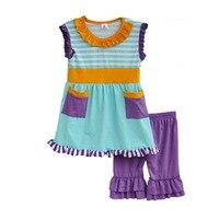 Children Clothing Striped Pocket Stitching Lace Sleeveless Fold Decorative And Purple Laminate Shorts Kids Clothes S024