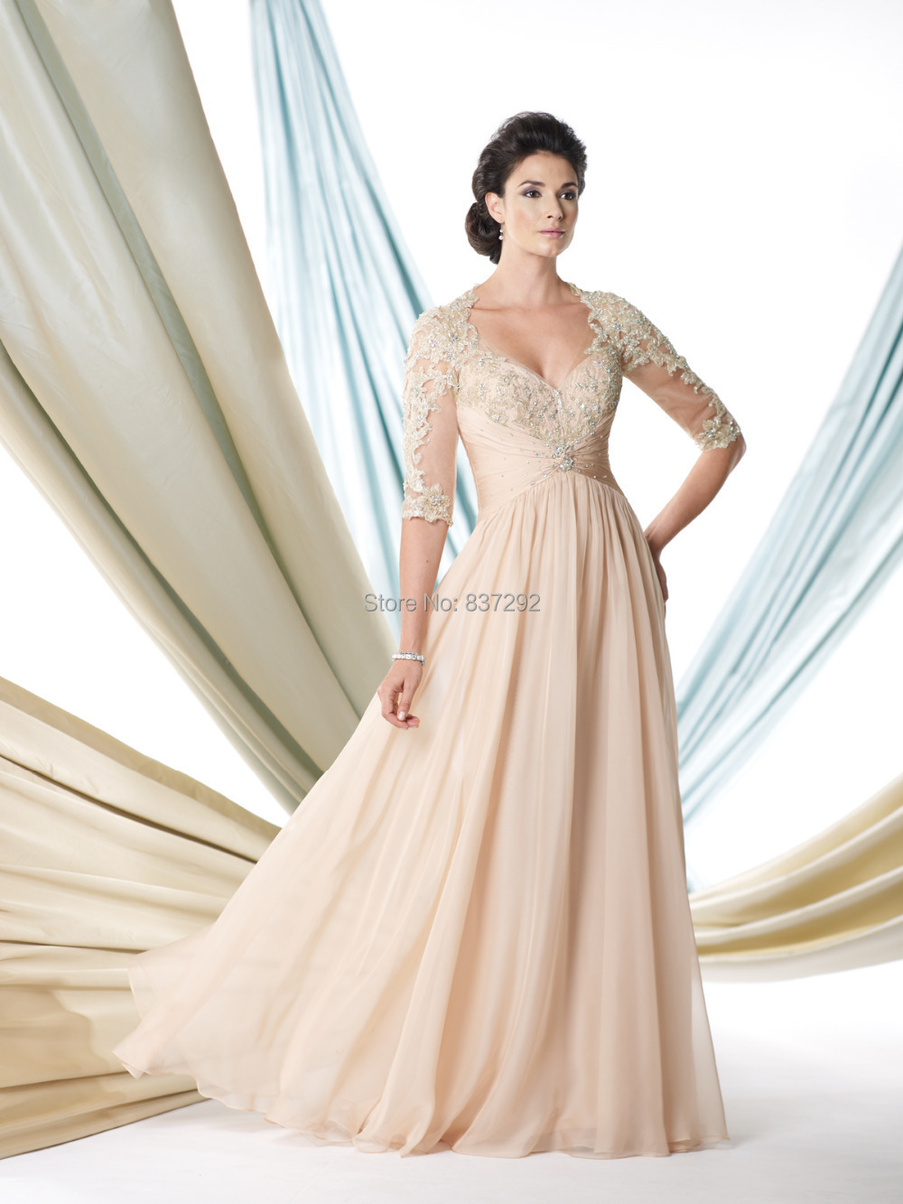 Gorgeous Champagne Long Mother of the Bride Dresses 2015 Lace God Mother  Gowns Half Sleeve Beaded Vestido de Festa-in Mother of the Bride Dresses  from ... 60f6582f68f5