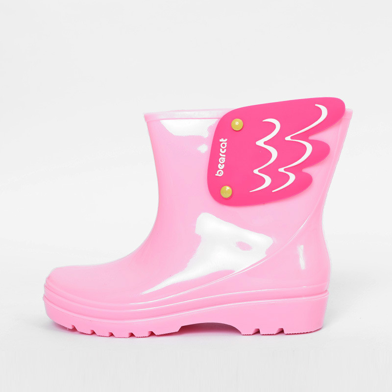 Children Toddler Wing Fly Rain Boots Winter Warm Solid Pure Color Cartoon Waterproof Antiskid Slip-on Boots