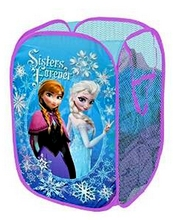 Snow Queen Sisters Forever Pop Up Hampers Children Kids Mesh Folding Elsa and Anna Clothes Storage Container Box for Toys