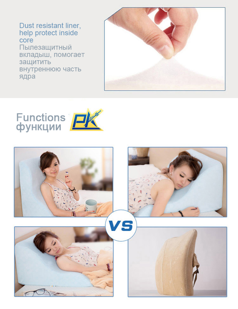 respirável cama encosto almofada destacável lento rebote almofadas