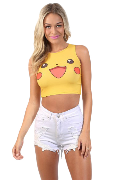 Fashionable Small Leisure Vest Summer Cool Half-Vest Pikachu Animation Digital Printing Than The Card Super-Vest
