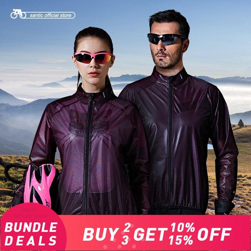 Santic Cycling Windproof Jackets Waterproof Men Women Sun Protective UPF40 Fabrics Small Rain Coat Cycling Clothings