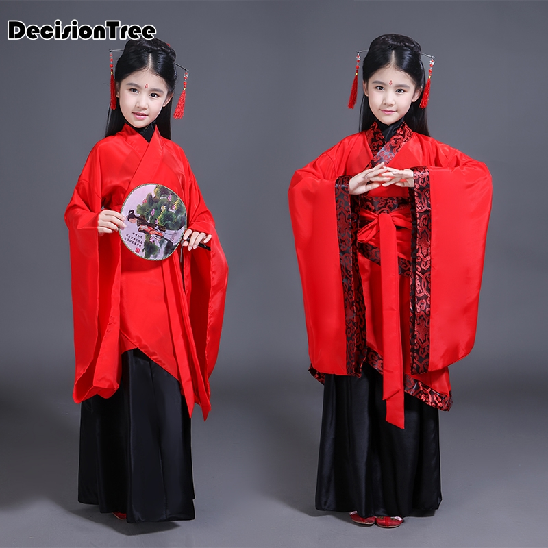 2019 summer children traditional ancient chinese costume silk clothing girls hanfu chinese dance costumes kids tang fairy dress