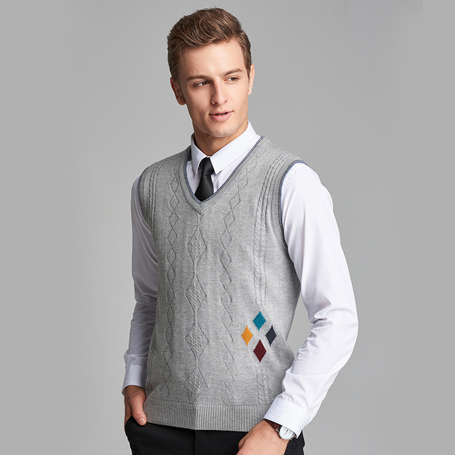 New Autumn 2016 Mens Formal Argyle Sleeveless Wool Sweater V Neck ...