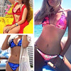 Pacento Sexy New Sequins Bikini Pink Red Green Blue Gold Swimsuit Shiny Bathing Suit Women Swimwear