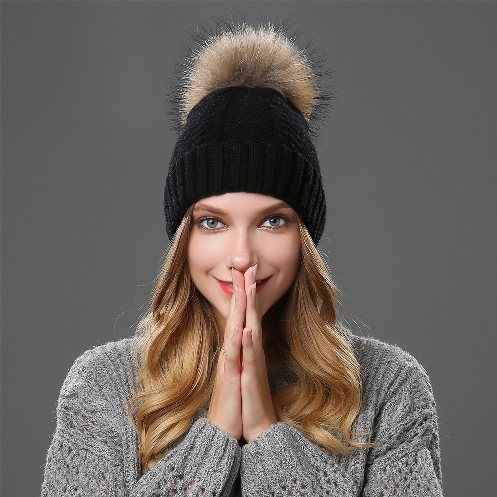 Women Winter Hats Wool Knitted Raccoon Fur PomPom Stripe Thick Cap 2018 Autumn   Beanie   Female   Skullies     Beanies   Hat Female For
