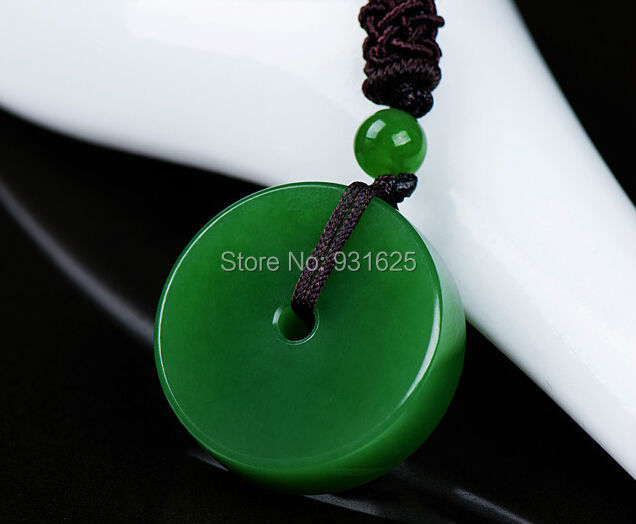 все цены на Wonderful Natural Real Hetian Yu Carved Safety Buckle Lucky Amulet Pendant Necklace + certificate Green Pendants Jewelry