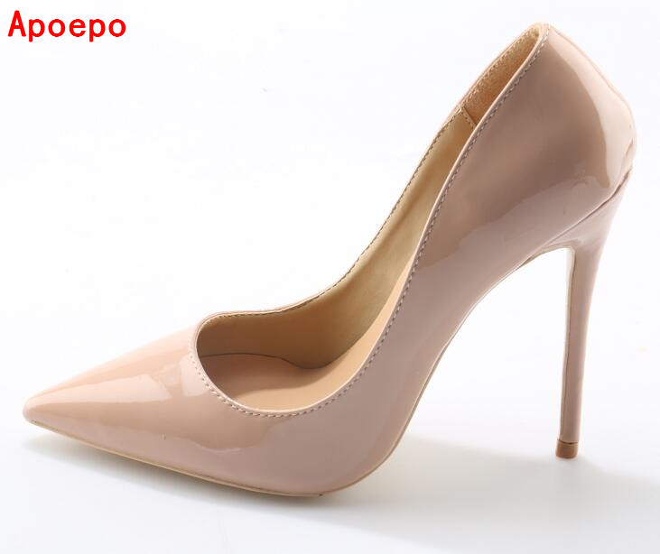 Sexy Nude Patent Leather Pointed-toe Stiletto Heels Shoes 12CM High Heel Pumps For Women Slip-On Wedding Dress Shoes Big Size 10 women stiletto square heel high heels wedding shoes pointed toe patent leather fashion pumps heels shoes size 33 40 p22810