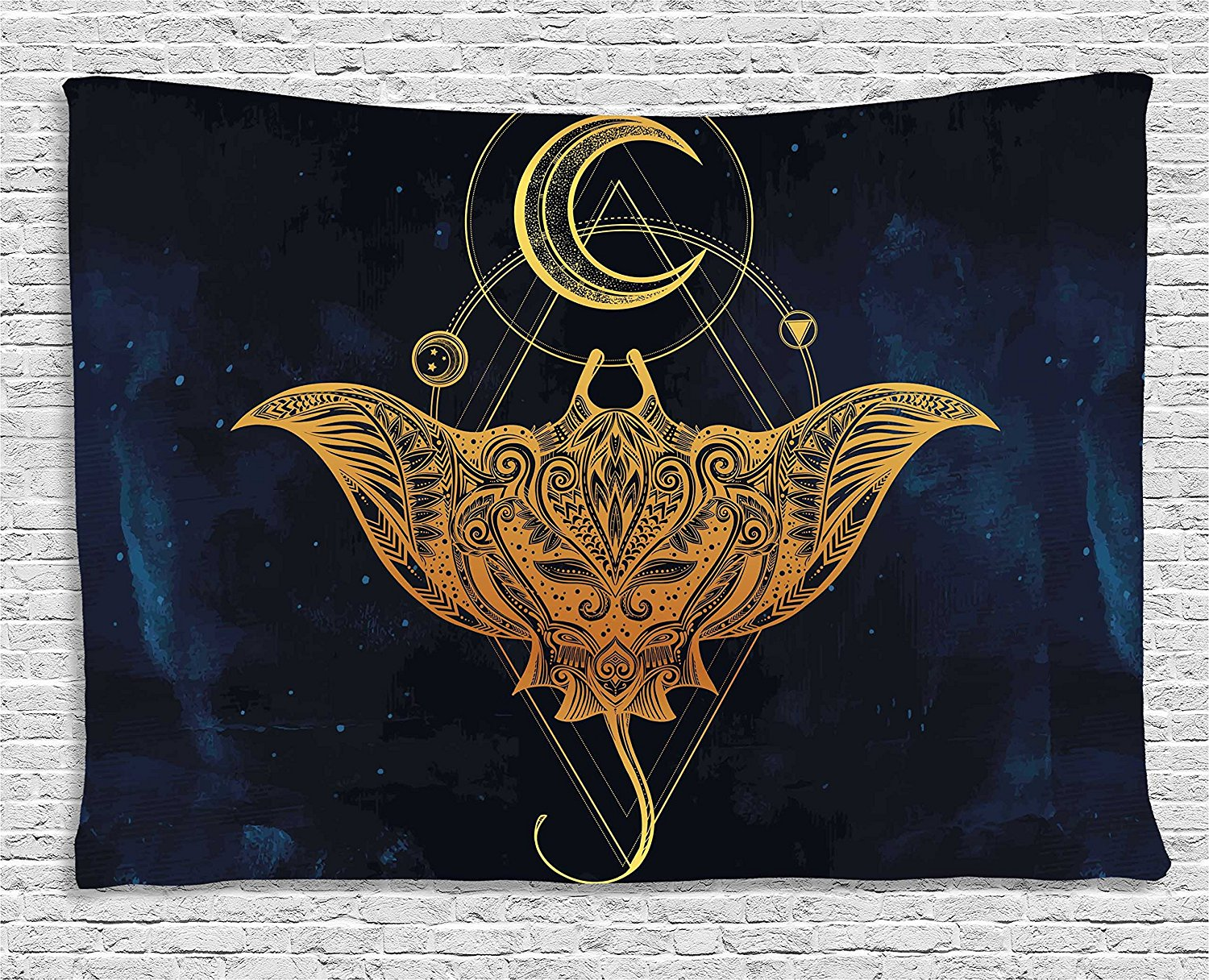 Psychedelic Tapestry, Mystic Alchemy Symbol Hidden Sign of Universe Holy Science Artful Image, Wall Hanging Tapestry