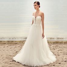 Eightree Appliques Tulle Strapless wedding Dress Sleeveless vestido de novia A-Line Zipper Design Beach Wedding ridal Dresses