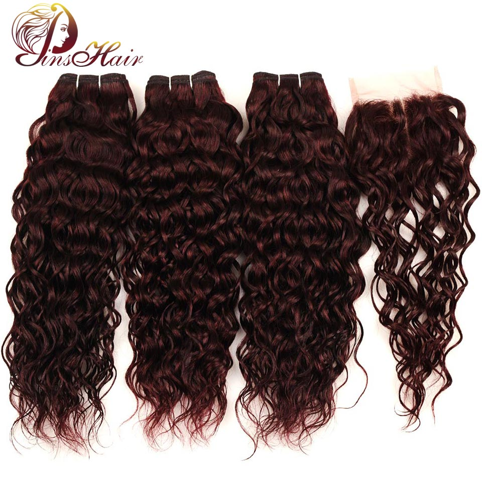 Pinshair Burgundy Brazilian Hair Weave Bundles With Closure Red 4 Pcs Water Wave Human Hair 3 Bundles With Lace Closure Non Remy (10)