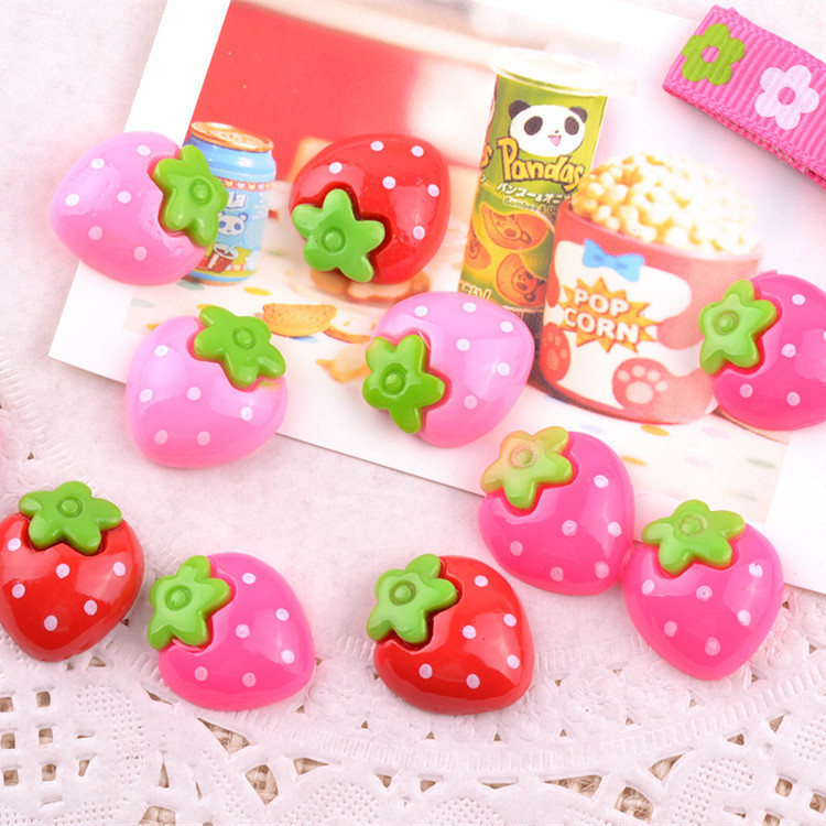 10pcs/lot Hot Sell Strawberry Fruit Series Resin Cabochon Flat Back Girls Hair Bow Center Making Boys Crafts DIY 20mm