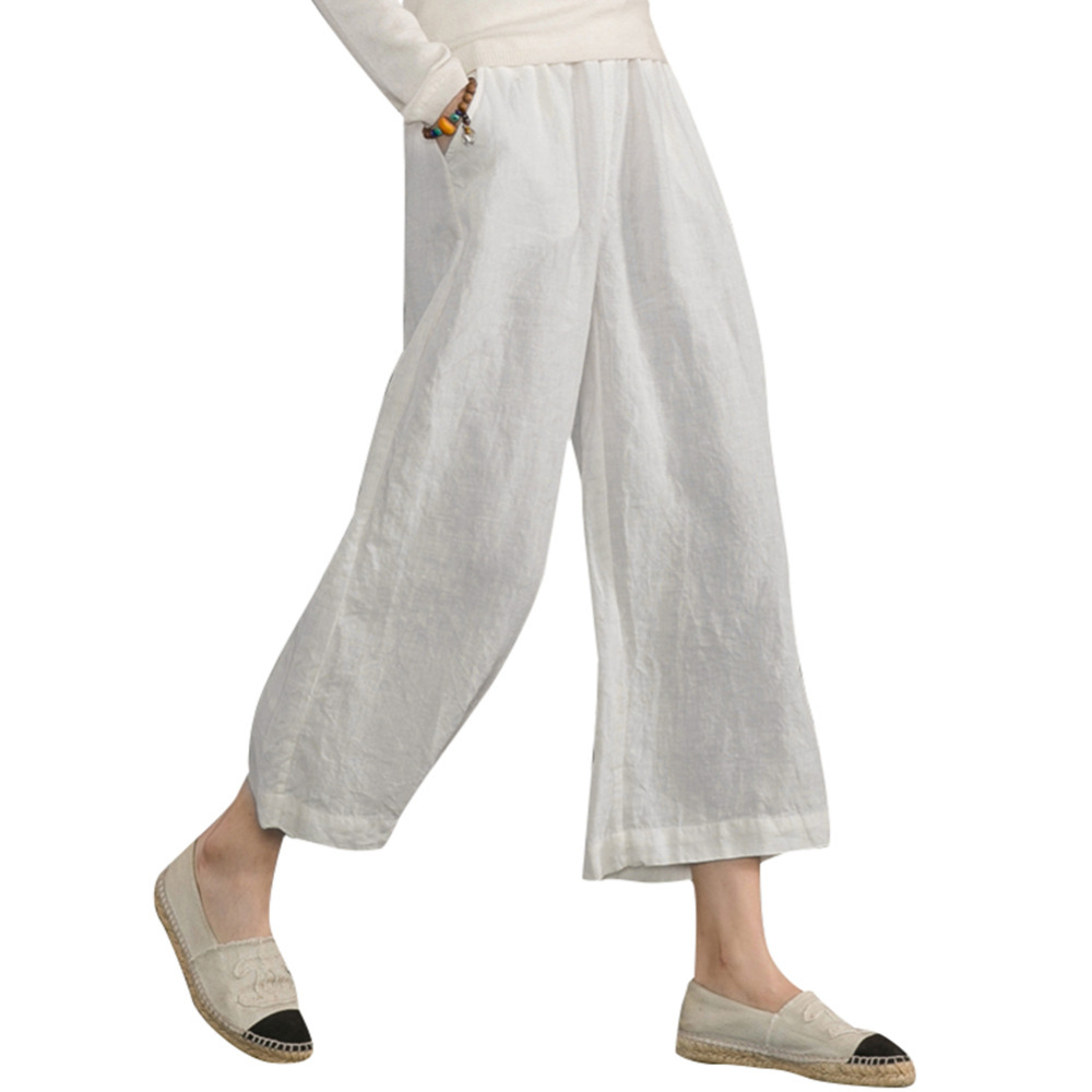 Women Cotton Linen   Wide     Leg     Pants   Elastic Waist Solid Color Soft Summer Lady Loose   Pants   Casual Soft Trousers Black/White/Orange