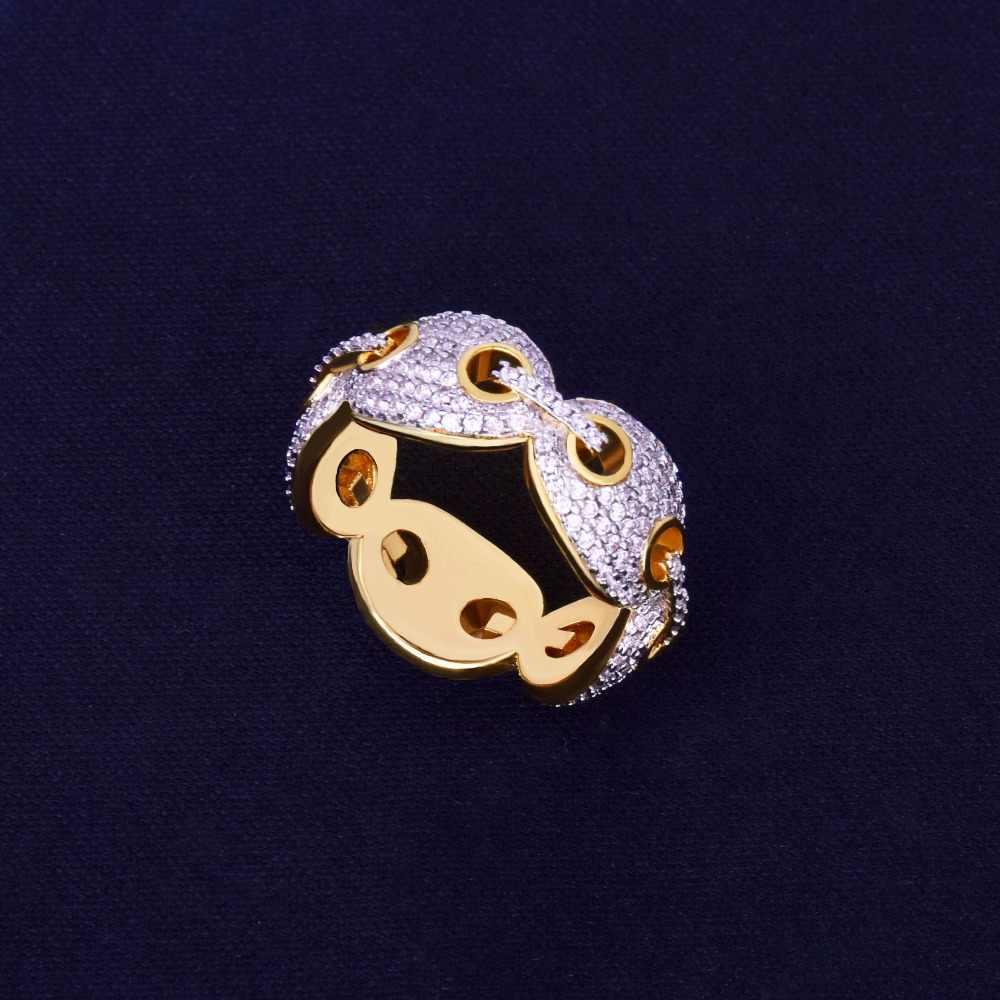 12 มิลลิเมตรผู้ชาย Cuban Link แหวน Charm สี BLING Cubic Zircon แหวนแฟชั่นเครื่องประดับ Hip Hop สำหรับของขวัญ