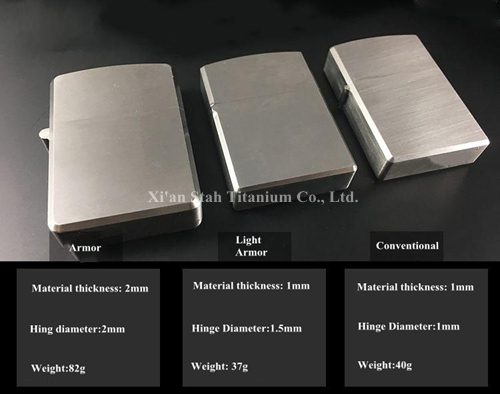 Titanium TC4 Oil Lighter Sleeve Case Heavy Armor / Light Armor / Conventional Shell Durable Brushed Stonewashed Flamed Finishing