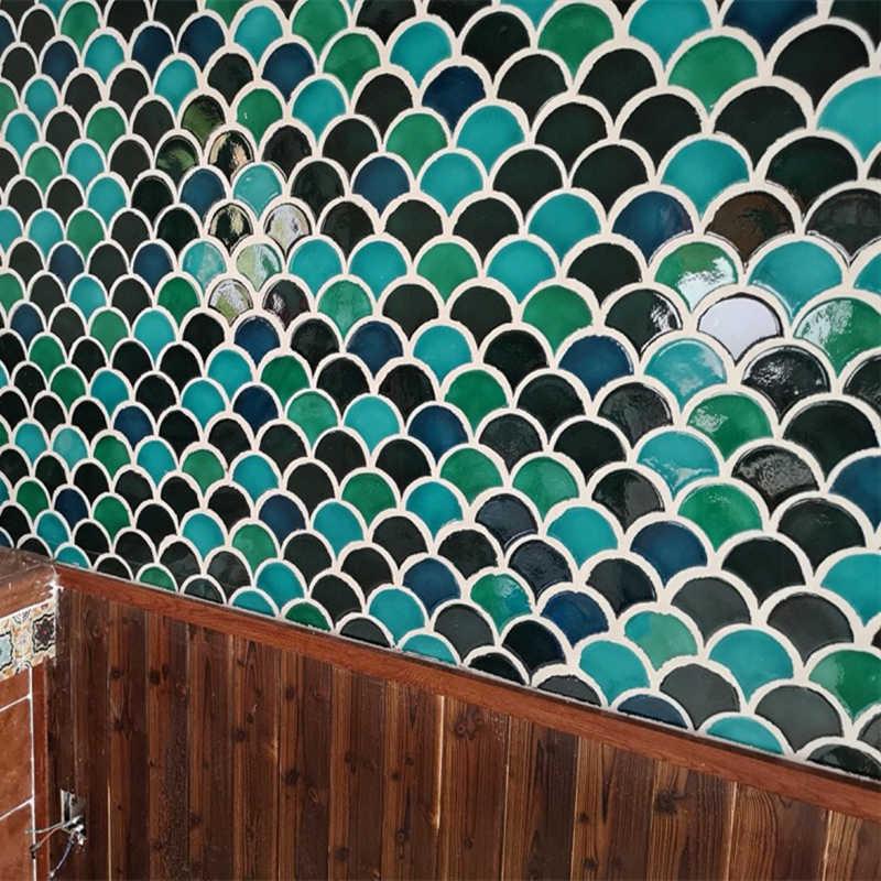 Green Blue Fish Scale Shell Ceramic Mosaic Tile Kitchen Backsplash Bathroom Background Wall Tiles Shower Porcelain Floor Tile Mosaic Making Aliexpress