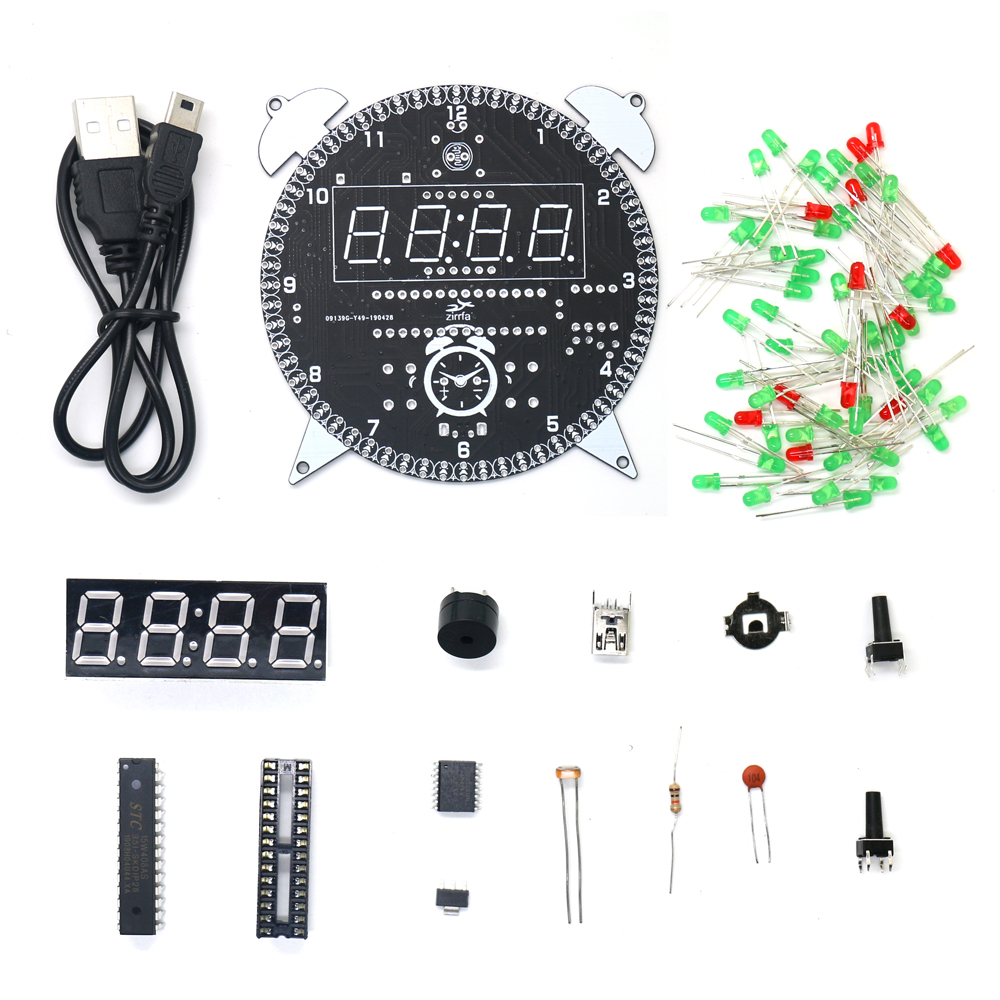 alarm clock zirrfa Rotating DS3231 Digital LED Display Module Alarm Electronic Digital Clock Temperature DIY Kit Learning Board 5V New (2)