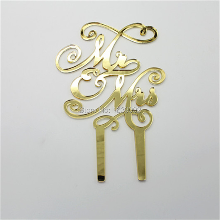 Free Shipping Unique Design Mirror Gold Wedding Acrylic Cake Toppers Cake Decoration (STACT-027)