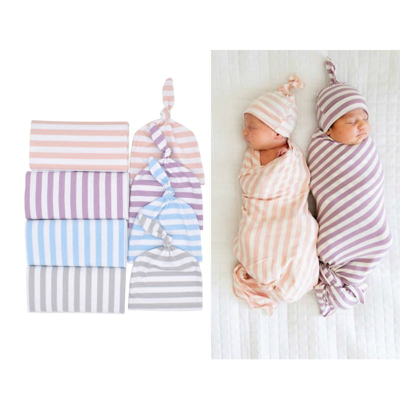 New Cotton Baby Blankets Printed Newborn Infant Baby Boy Girl Sleeping Swaddle Muslin Wrap +Hat 2PCS