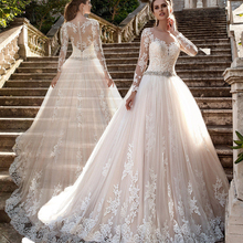 OllyMurs Romantic Long Sleeves Ball Gown Wedding Dresses