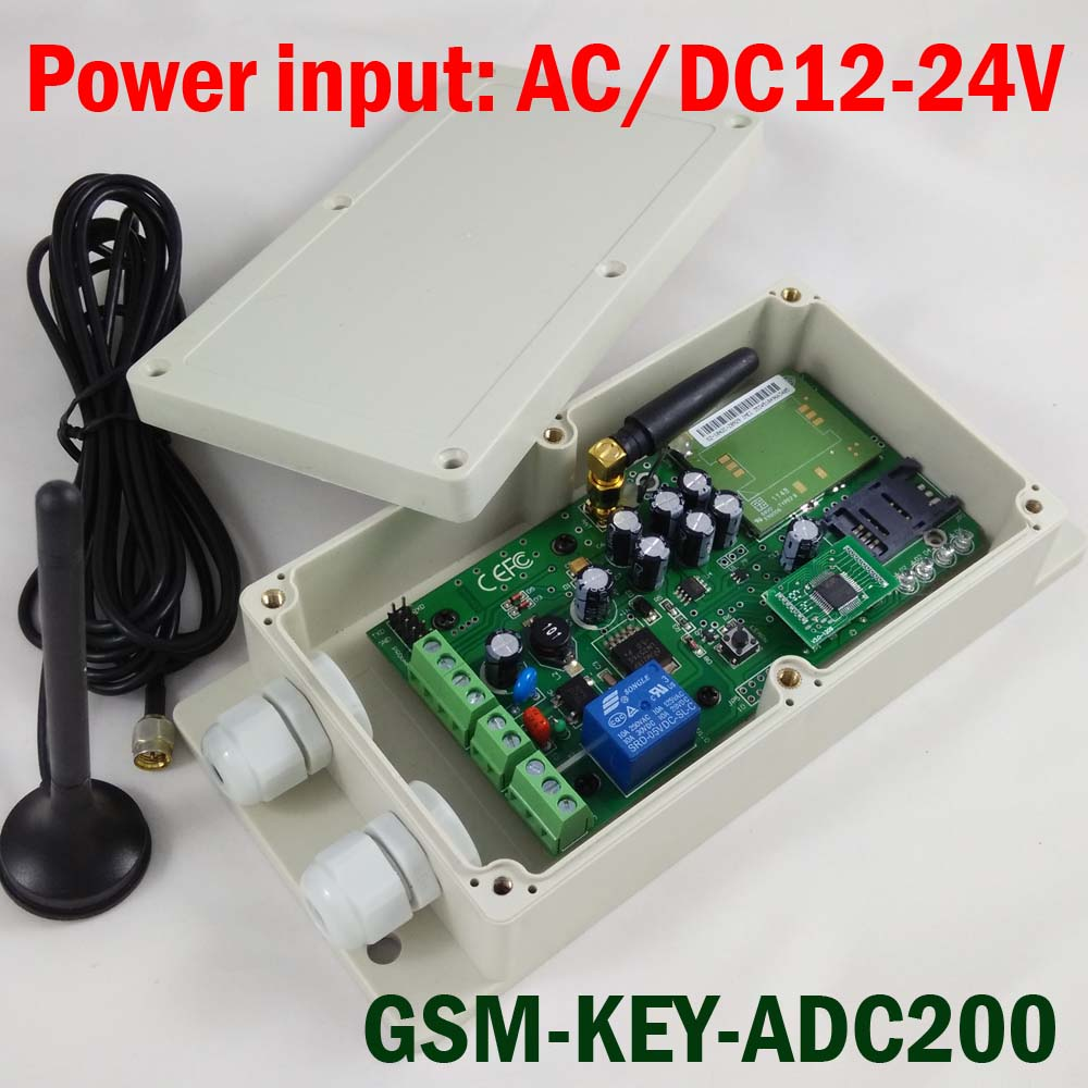 GSM-KEY-ADC200 GSM Remote controller SMS control box relay output switch for sliding gate and automatic door access control via gsm key dc200 direct factory gprs server supported sliding gate gsm security remote access opener maximum working phone 200