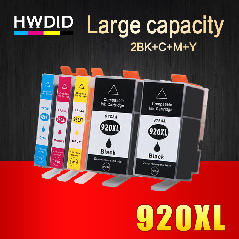 HWDID 5Pack 920XL Compatible Ink Cartridge Replacement For HP 920 XL For Officejet 6000 6500 6500 6500A 7000 7500 7500A printers 12 pcs for hp 920 xl 920xl with chip compatible ink cartridge for hp officejet 6000 6500 6500 wireless 6500a 7000 7500 7500