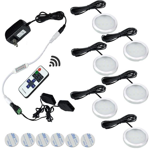 Nos termos Do Gabinete LIDERADO Luzes 6 Lâmpadas Conjunto com Controle Remoto Sem Fio RF para Armário de Cozinha Balcão Prateleira Sotaque Iluminação Da Decoração