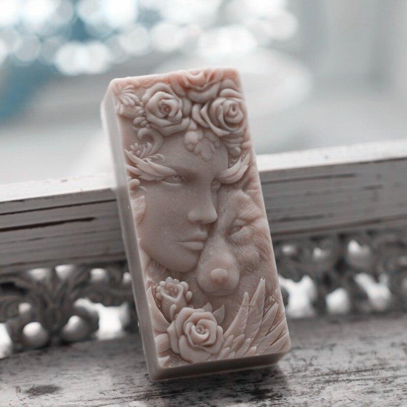 Molde de jabón de barra de lobo para hombre, molde de silicona, molde decorativo para pastel de Chocolate, moldes artesanales