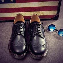 2016 British Style Men Leather Shoes Boys Oxfords Casual Breathable Brogue Shoes Male Fashion Spring/Autumn Flats Student 1/5