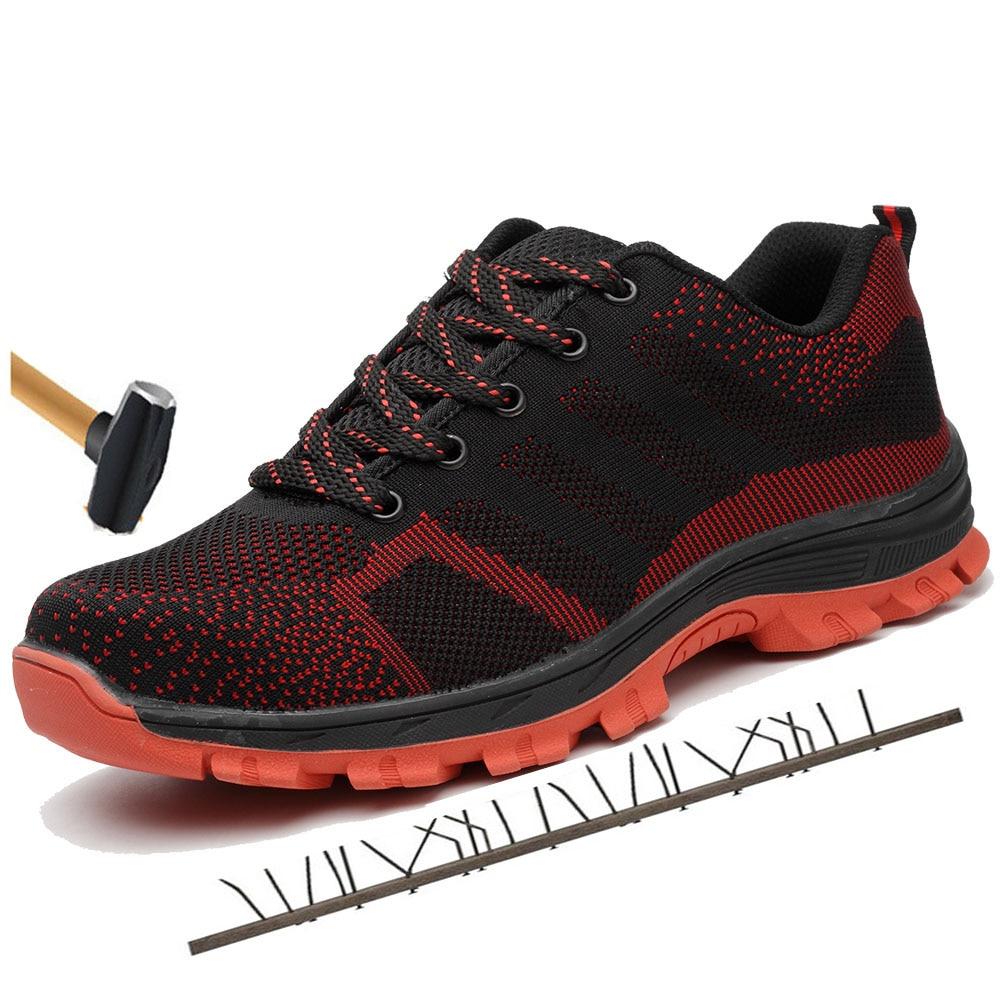 Segurança Homens Respirável slip Biqueira Dos Anti Do Prova Sapatos Livre Aço Ar Ao Preto De azul Botas vermelho azul Construção Trabalho Punção À Céu wXqfFtxX