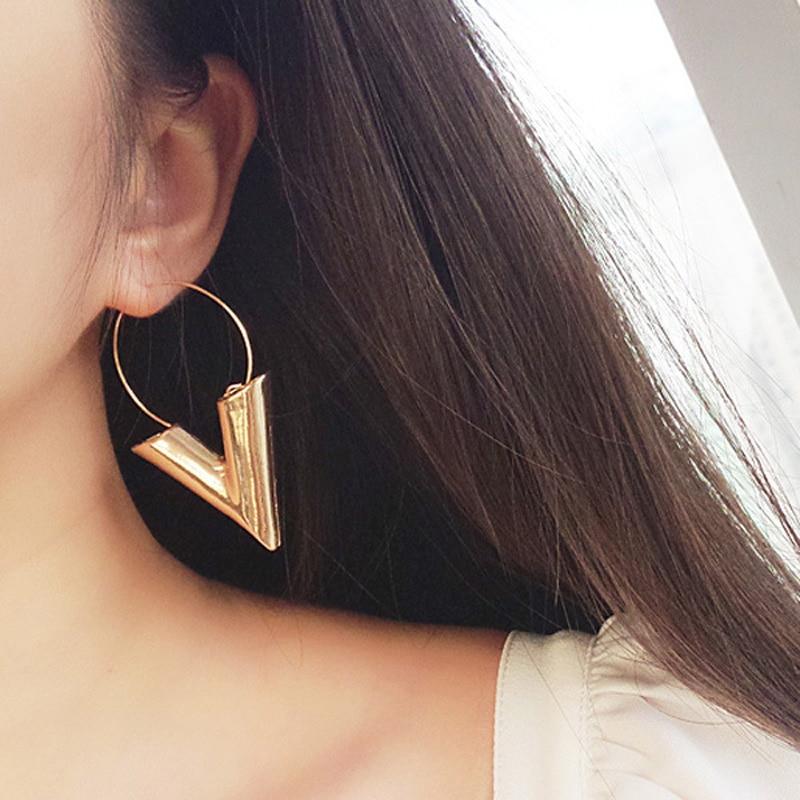 Drop-Earrings Geometric Dangle Gold Vintage Women Big for Letter Brincos Fashion Bijoux