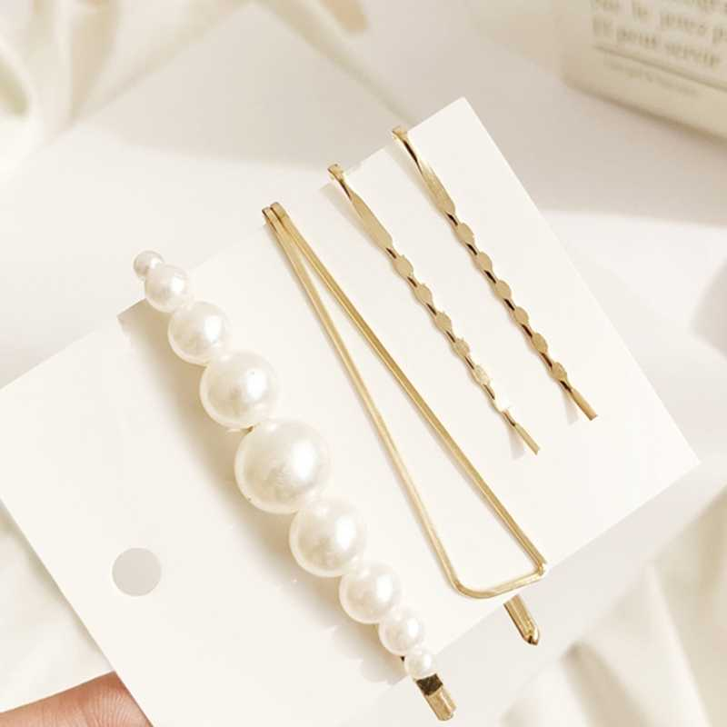 1 Set Gold Metal Minimalist Geometric Irregular Hair Clips Imitination Pearl Hairpins Barrette Hairgrip Hair Styling Accessories